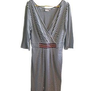 || ESHAKTI || XL Size 18 Long Sleeve Striped Dress